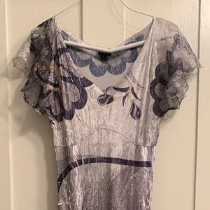 2/$75: Komarov midi silver gray dress with lace